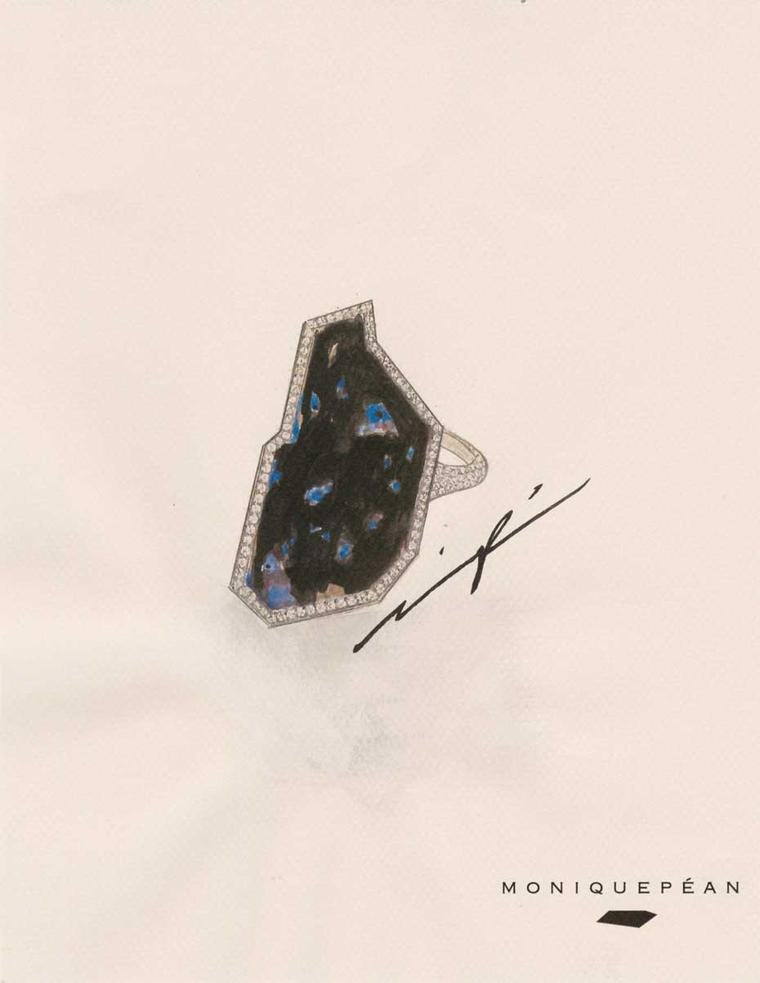 This signed sketch of the Monique Péan black fossilised dinosaur bone and diamond ring will accompany the jewel when sold