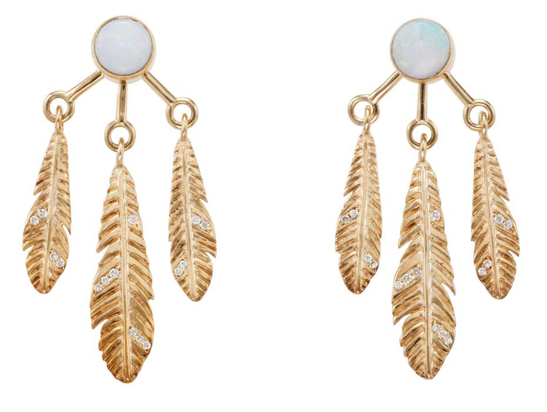 Pamela Love's Frida opal, diamond and gold earrings have each been designed as a circular opal stud, with an earring back jacket suspending three gold feathers set with circular-cut diamonds.