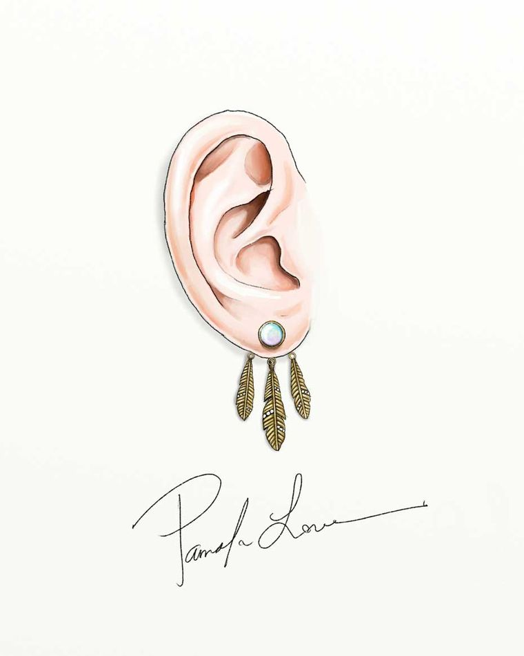 The signed sketch of Pamela Love's Frida earrings will accompanies the jewel.