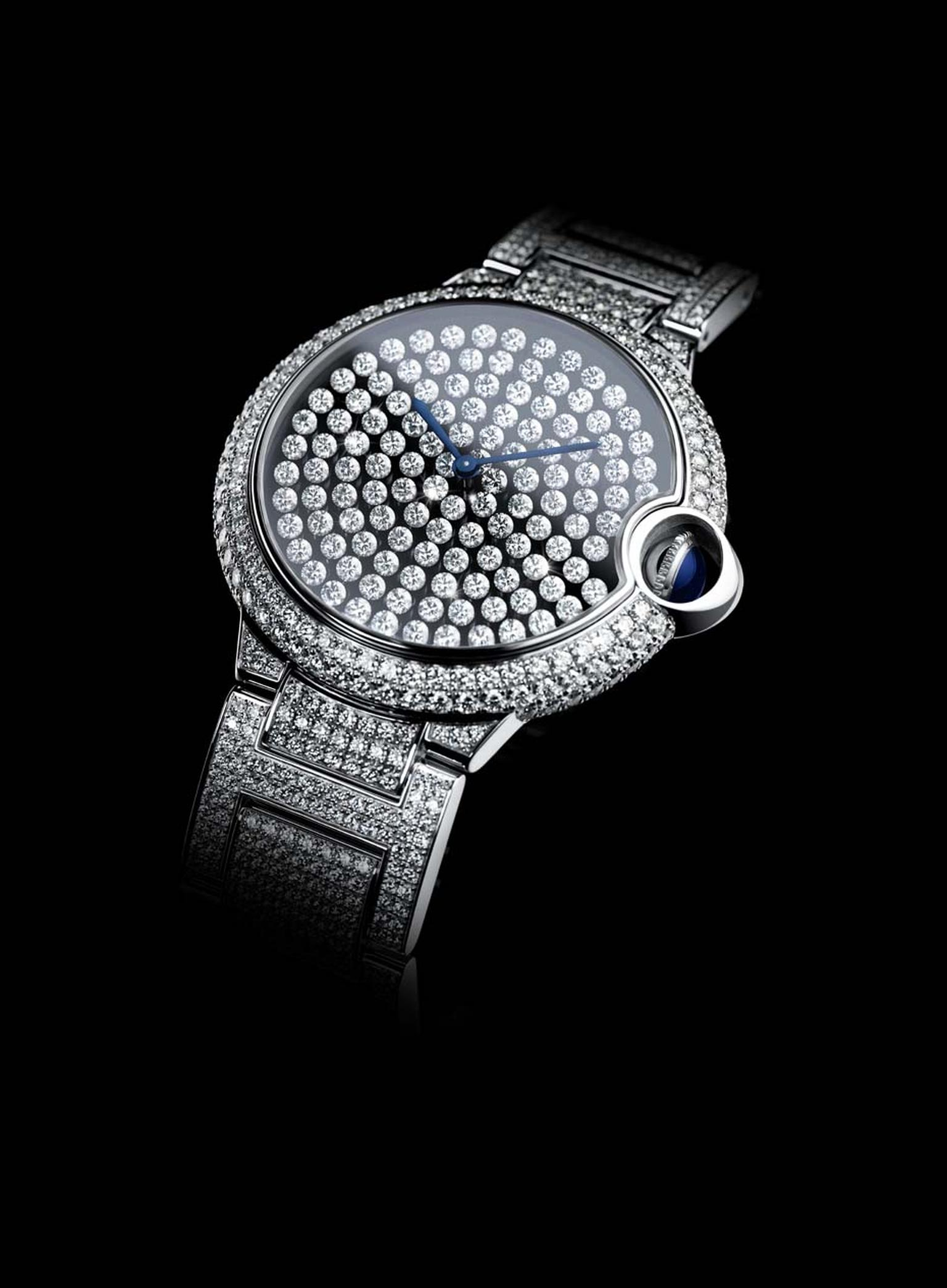 In this remarkable Cartier Ballon Bleu high jewellery watch, all the diamonds on the dial jiggle and sway in time to your movements. The team at Cartier has patented the new Vibrating Setting, which is invisible to the naked eye and allows the diamonds to