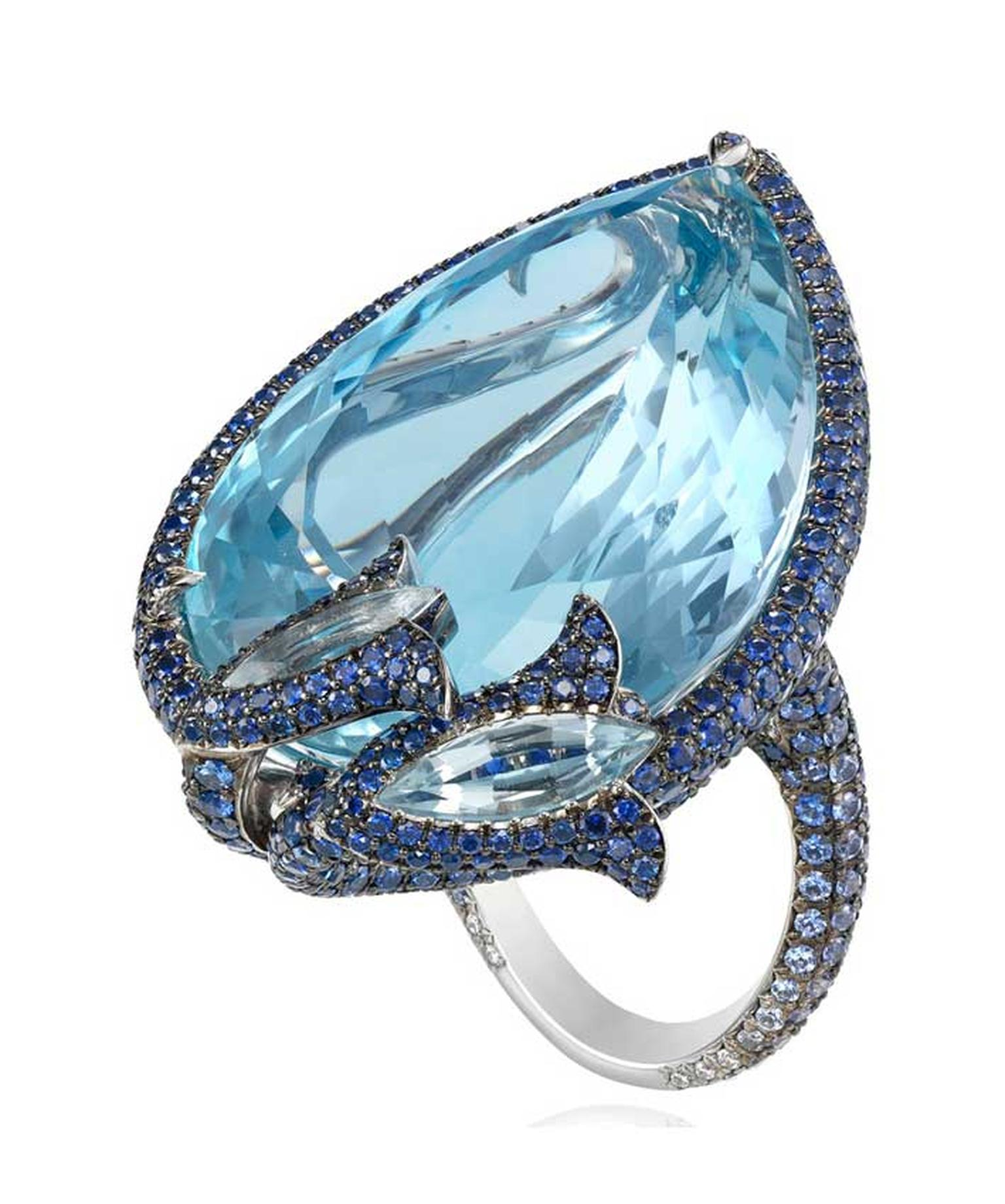 The Cannes aquamarine ring from Chopard's Red Carpet collection features a pear-shaped aquamarine, diamonds and sapphires.