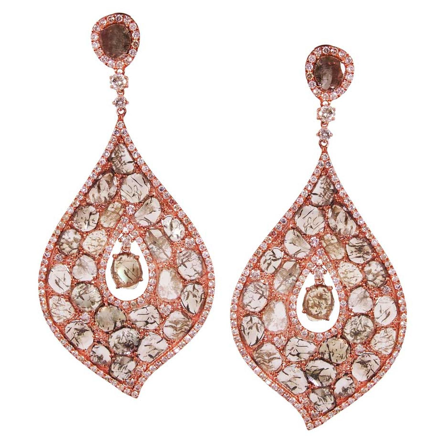 L'Dezen by Payal Shah Aladdin diamond drop earrings in rose gold, available at Plukka.com (£9,954).