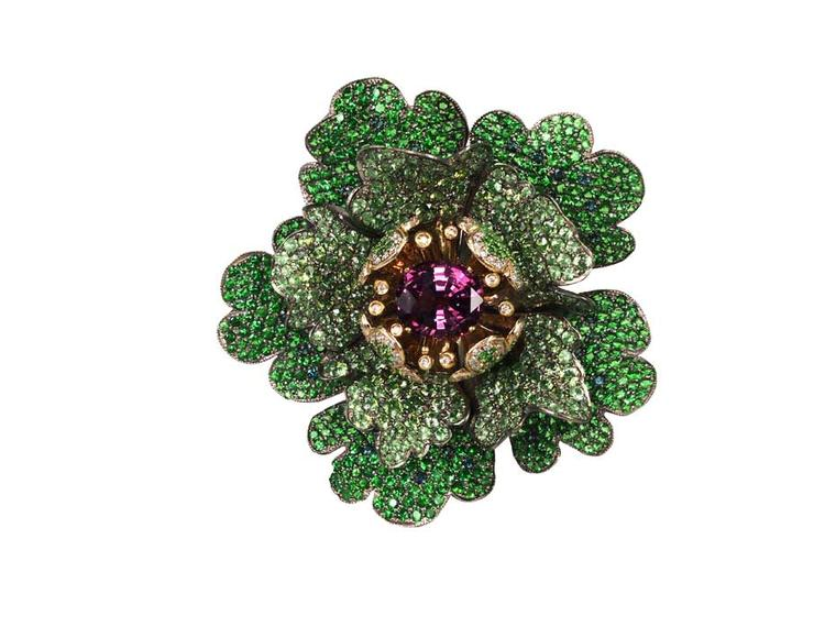 Nisan Cabbage Rose tsavorite ring in white gold and titanium, available at Plukka.com, featuring tsavorites, demantoid garnet, spinels, green garnets and diamonds (£10,899).