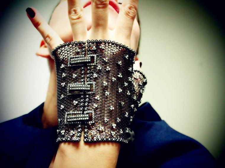 Geraldine Carfield Feu et Chaines diamond mesh half glove with diamonds set in a fine weave of black silver (£2,709).