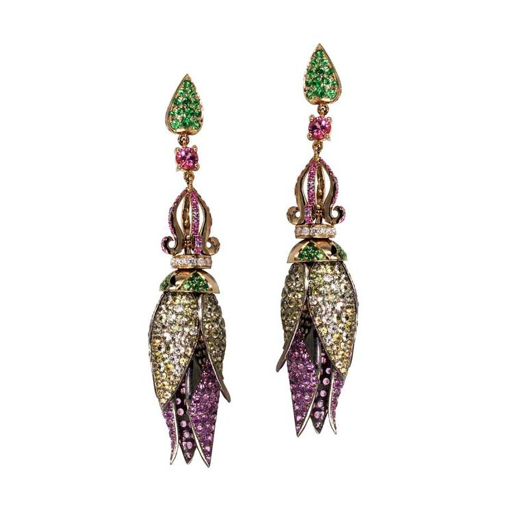 Nisan Lotus sapphire drop earrings featuring sapphires, tsavorites and spinels (£4,662 at Plukka.com).