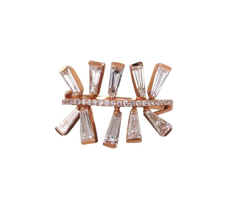 Sidney Chung Topsy Turvy diamond ring in rose gold, with tapered baguette and brilliant-cut diamonds (£3,969 at Plukka.com).