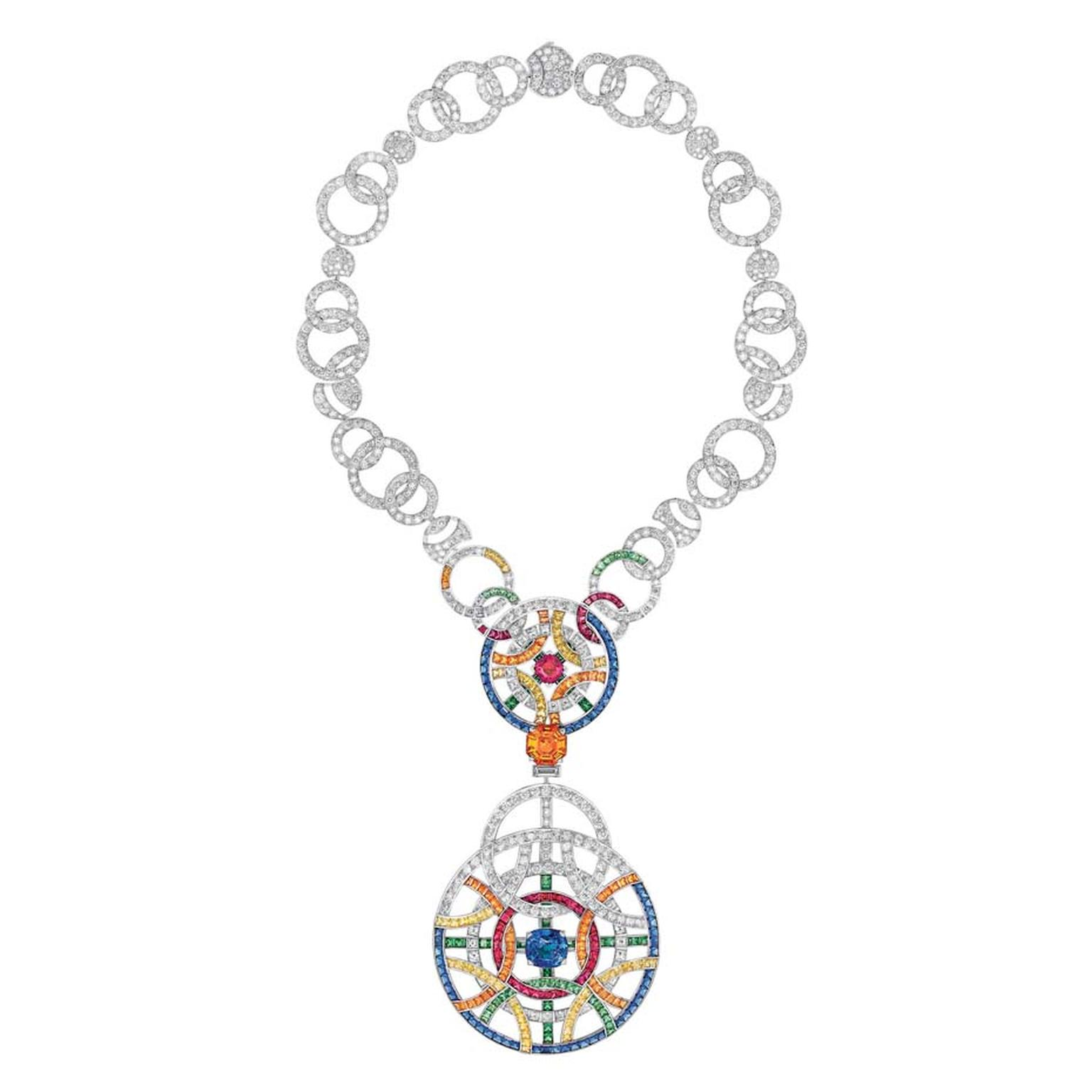 Chanel necklace in white gold set with a spessartite, diamonds, blue and yellow sapphires, red spinels, orange grenats and tsavorites, from the Café Society high jewellery collection.