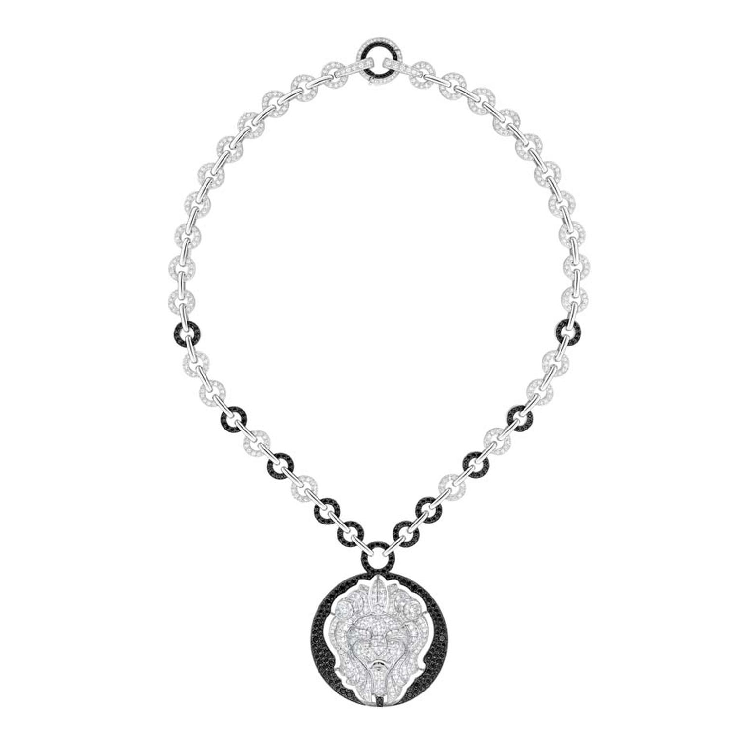Chanel Lion Talisman necklace in white gold, set with black and white diamonds. From the new Les Intemporels high jewellery collection.