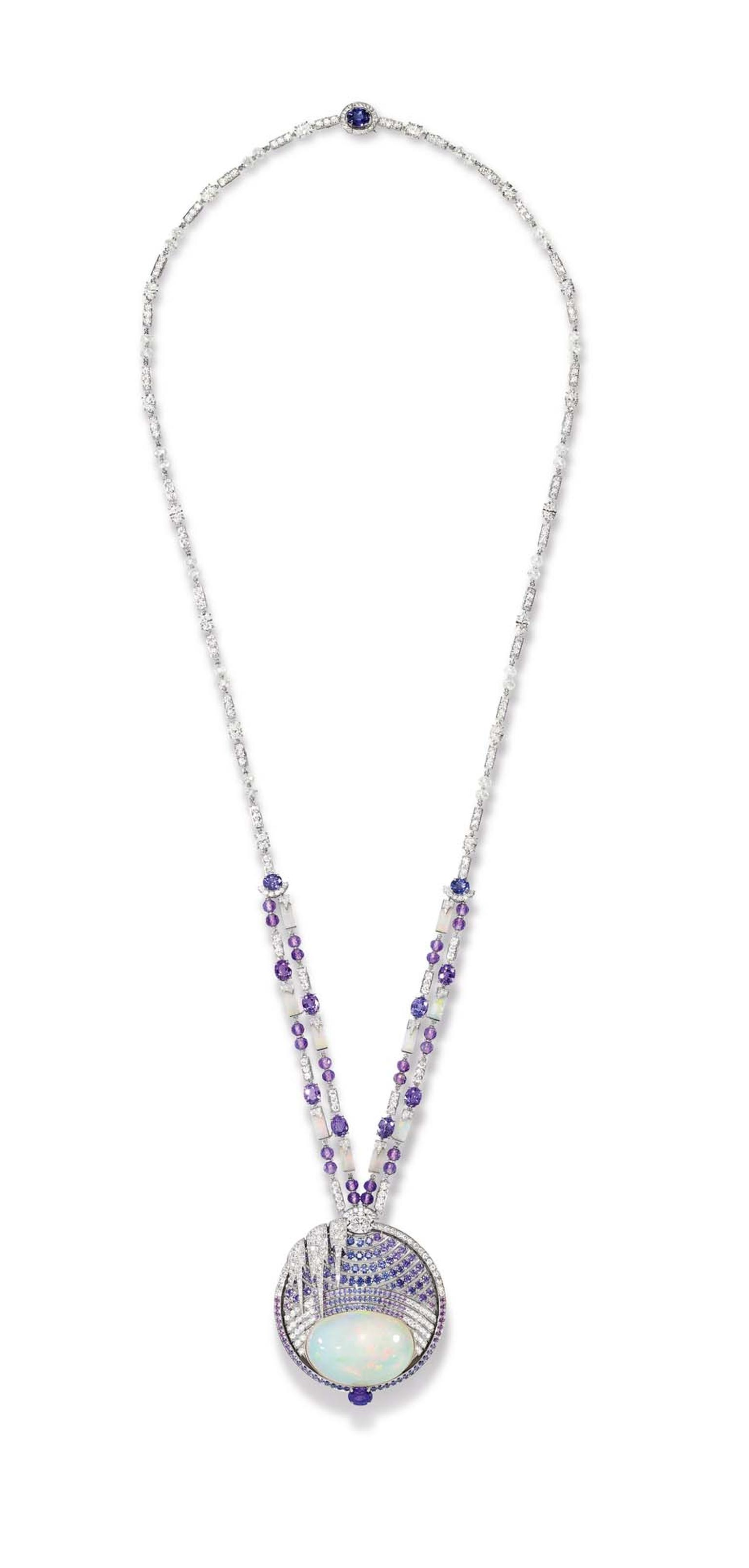 Chaumet Lumieres d'Eau high jewellery necklace in white gold, created for the Biennale des Antiquaires in Paris, set with a 59.58 ct cabochon-cut white opal from Ethiopia, round and oval-cut violet sapphires from Ceylon and Madagascar, oval-cut and brilli