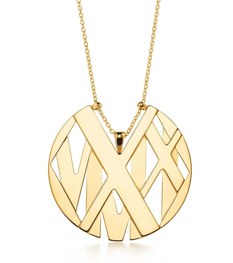 Tiffany Atlas medallion necklace in yellow gold, strung on a 36 inch chain.