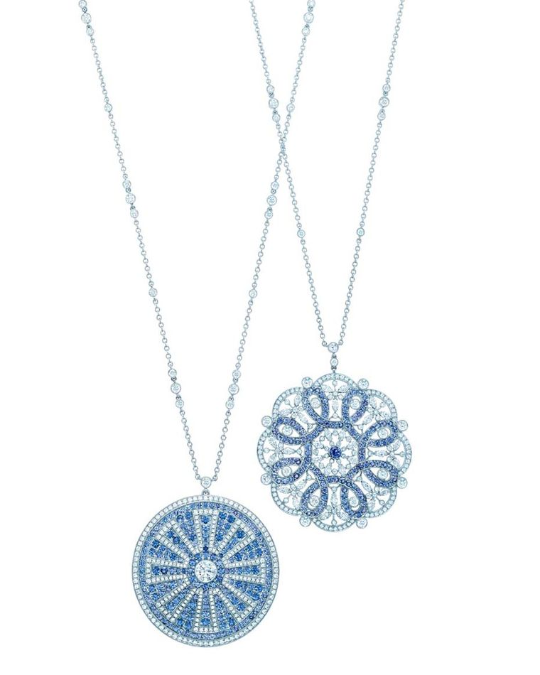 Tiffany necklaces in platinum, set with Montana sapphires and diamonds in platinum.