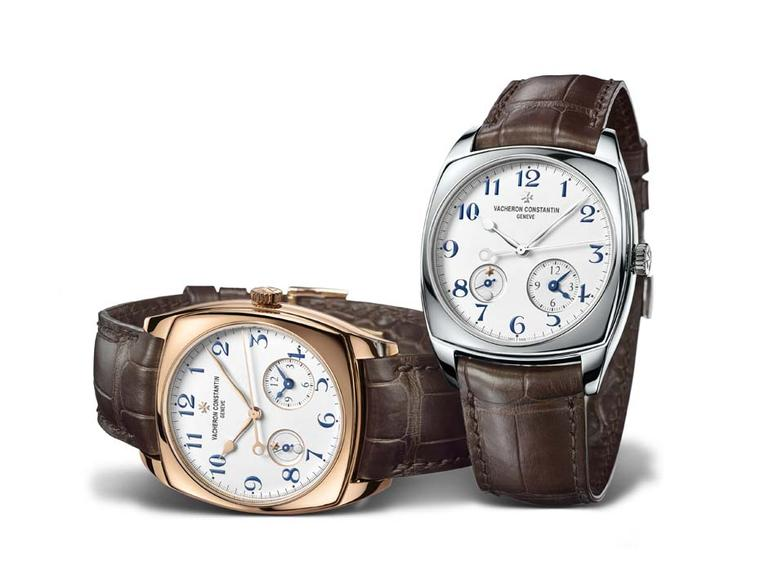 Vacheron Constantin Harmony Dual Time watch for men comes in either a white gold or rose gold 40mm case. Equipped with an automatic movement, the gold rotor is decorated with an arabesque motif. Both versions are limited editions of 625 pieces.