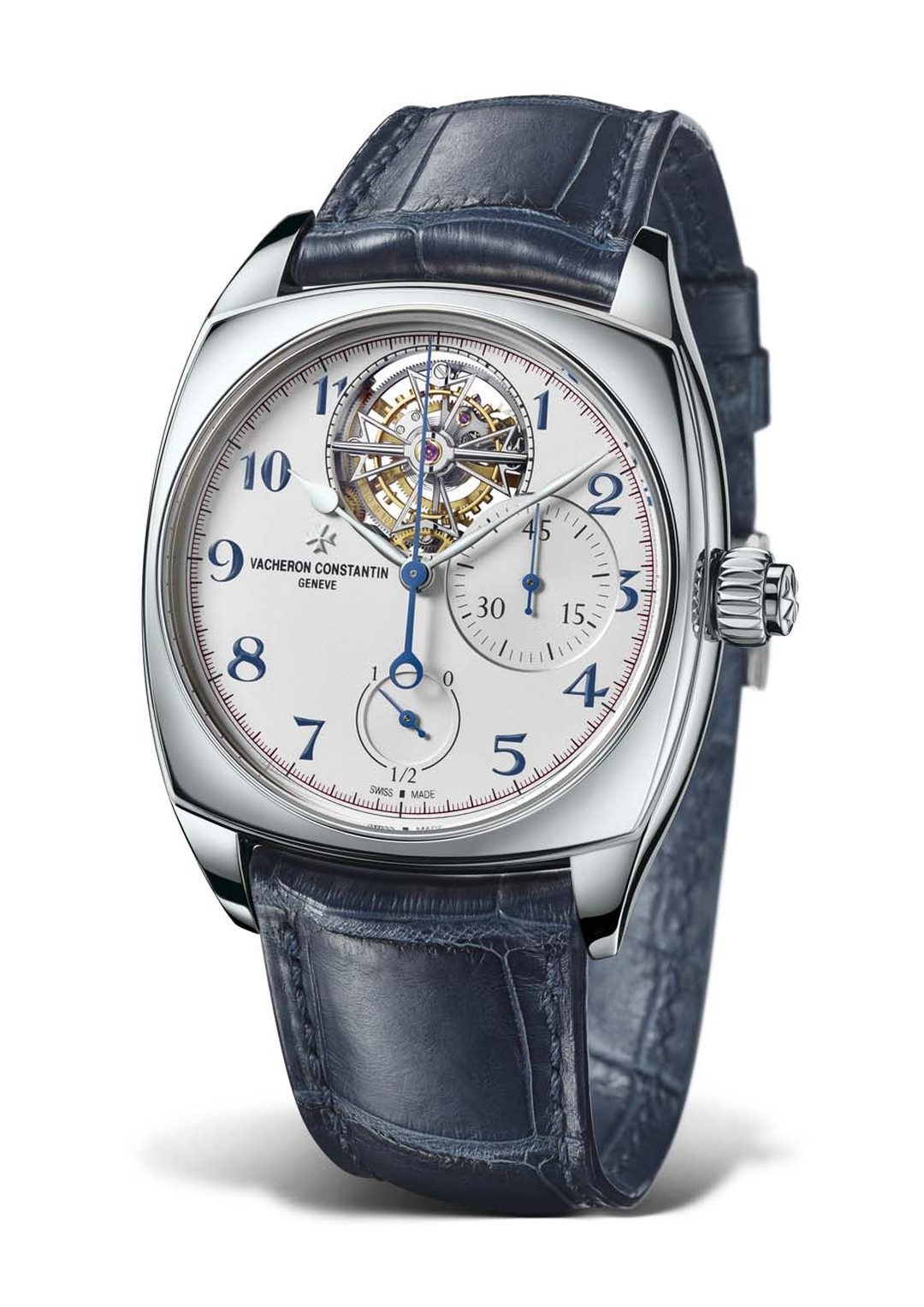 The Vacheron Constantin Harmony Tourbillon Chronograph combines two complications in one and runs on the newly developed hand-wound calibre 3200. This monopusher chronograph features a tourbillon shaped like the Maltese Cross at 12 o'clock.