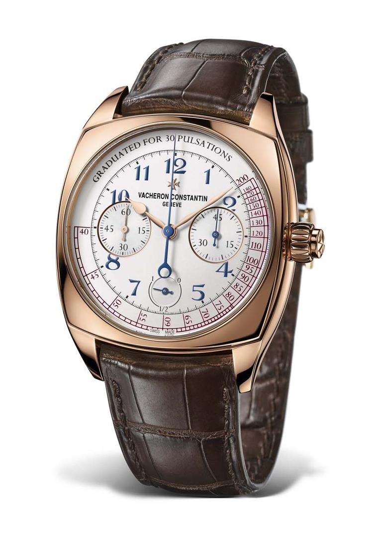The Vacheron Constantin Harmony Chronograph comes in a 42mm rose gold cushion-shaped case and is limited to 260 pieces.