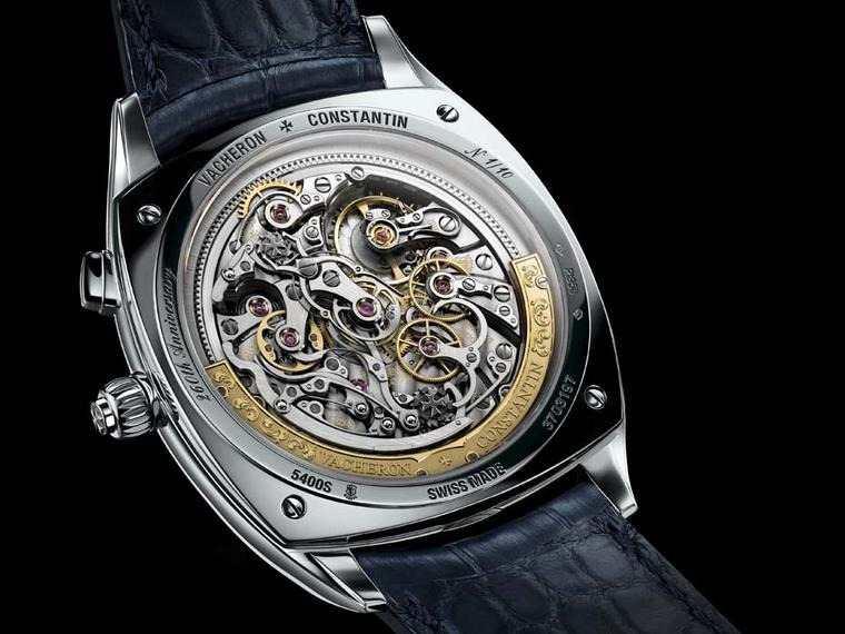 The ultra-thin chronograph features a gold peripheral rotor hand-engraved with a 260th anniversary pattern.