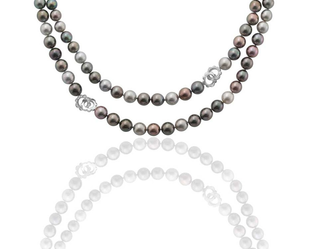 Rococo Pearl Necklace from Boodles featuring Tahitian cultured pearls of 10.5mm-11.5mm, and decorative diamond-set Rococo motifs, set in white gold.