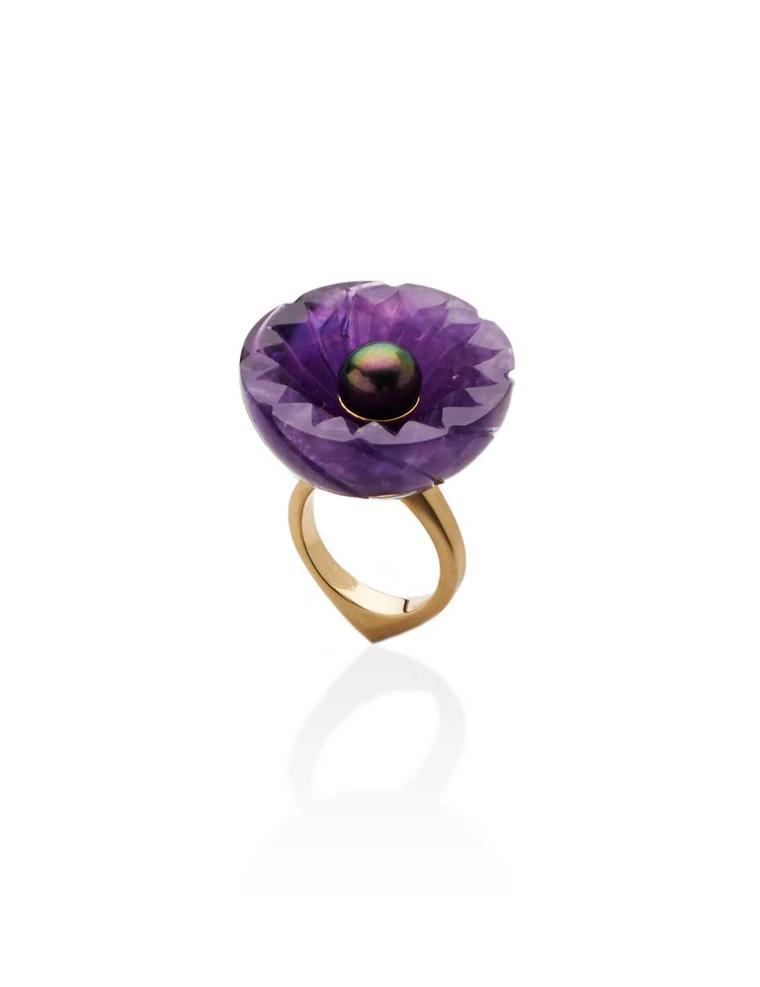 Flora Bhattachary Jyamiti Ring in gold with a peacock Tahitian pearl and hand-carved amethyst.