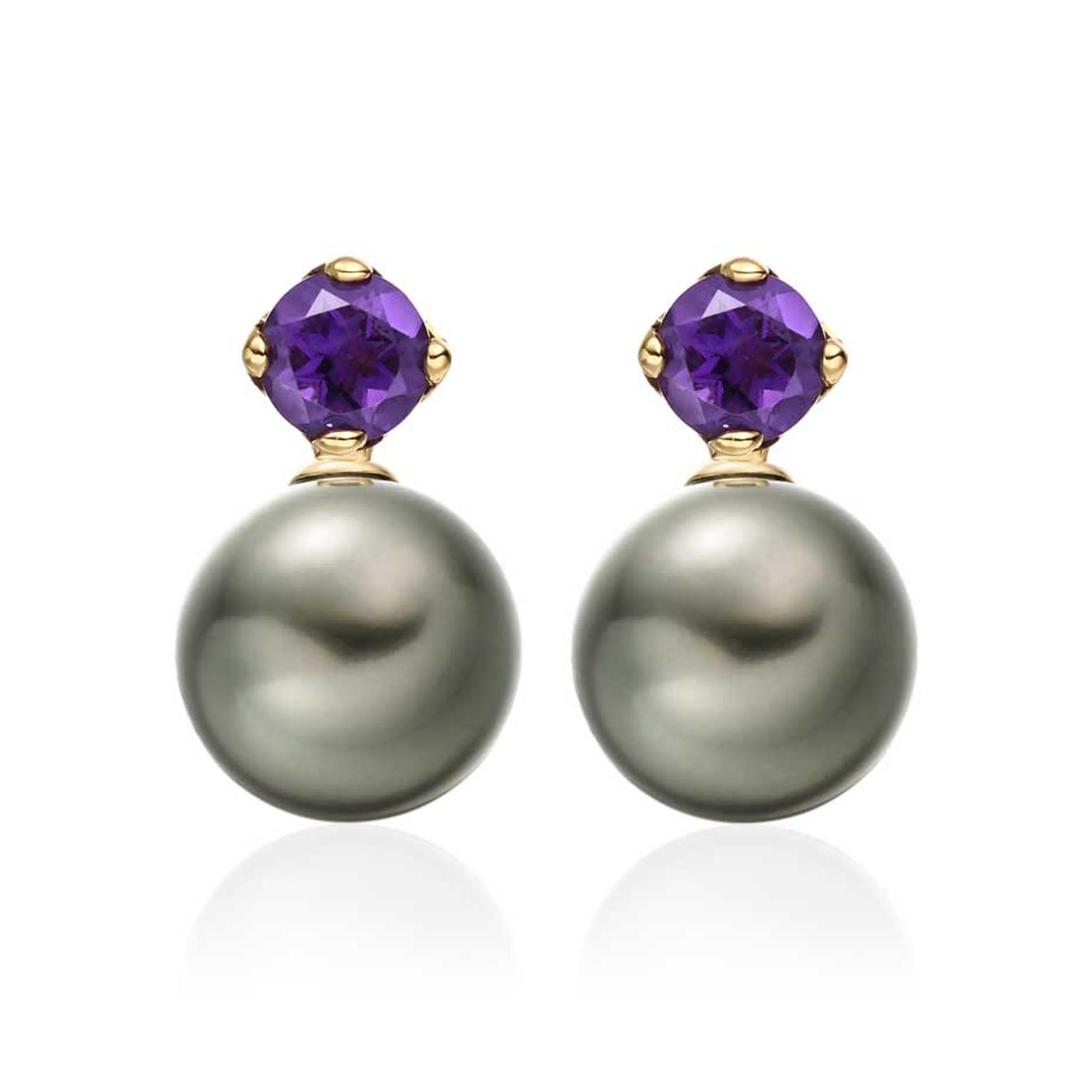 Winterson Lief Tahitian pearl earrings in yellow gold with amethysts.