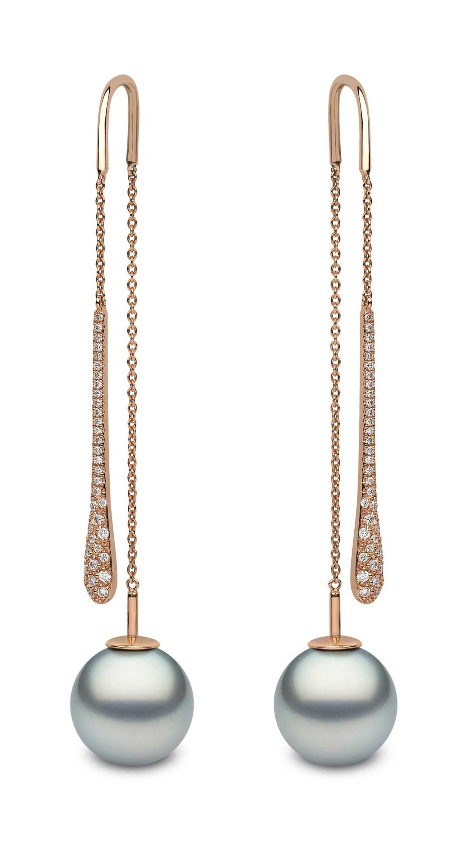 Rose gold earrings featuring diamonds and 12mm-13mm Tahitian pearls from YOKO London.