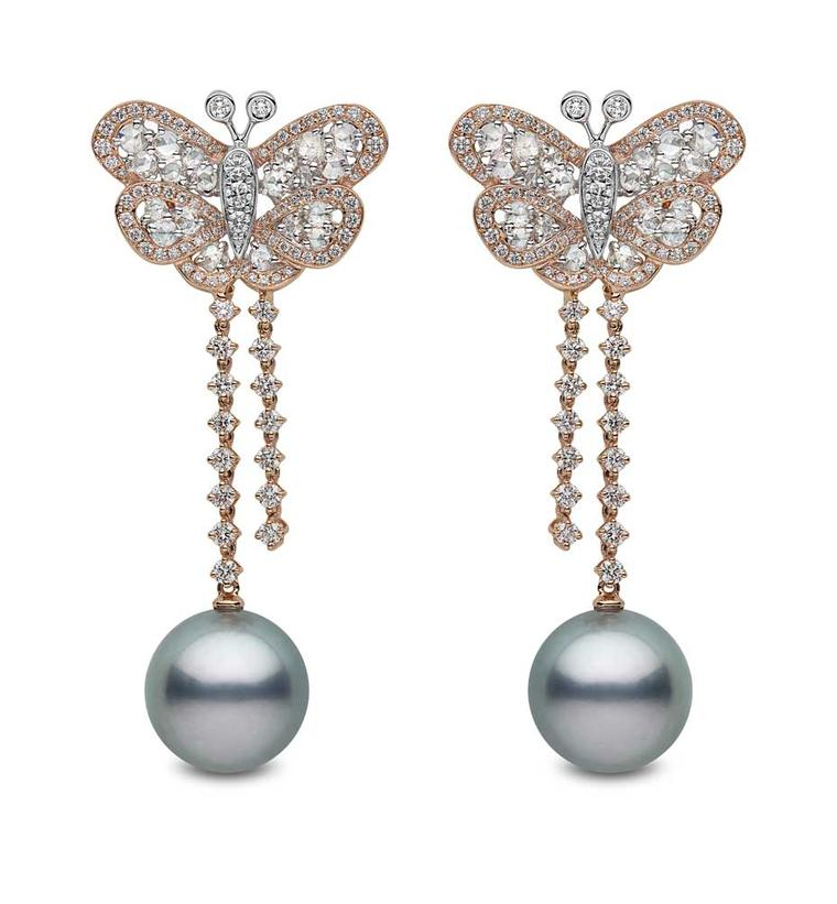 YOKO London rose gold earrings featuring diamonds and 14mm-15mm Tahitian pearls.