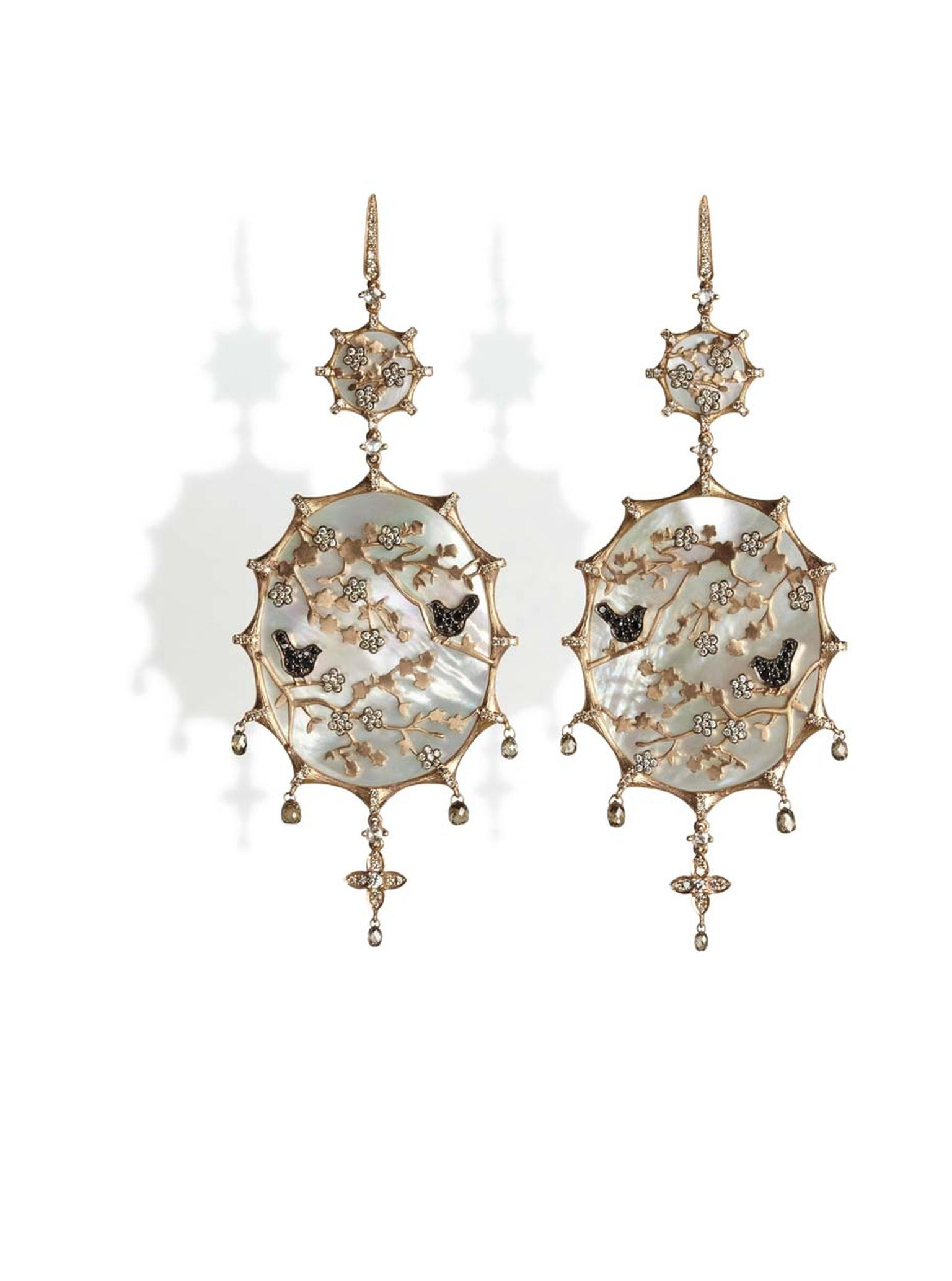 Annoushka Dream Catcher, diamond and mother-of-pearl earrings, as worn by Bafta award winner Patricia Arquette.