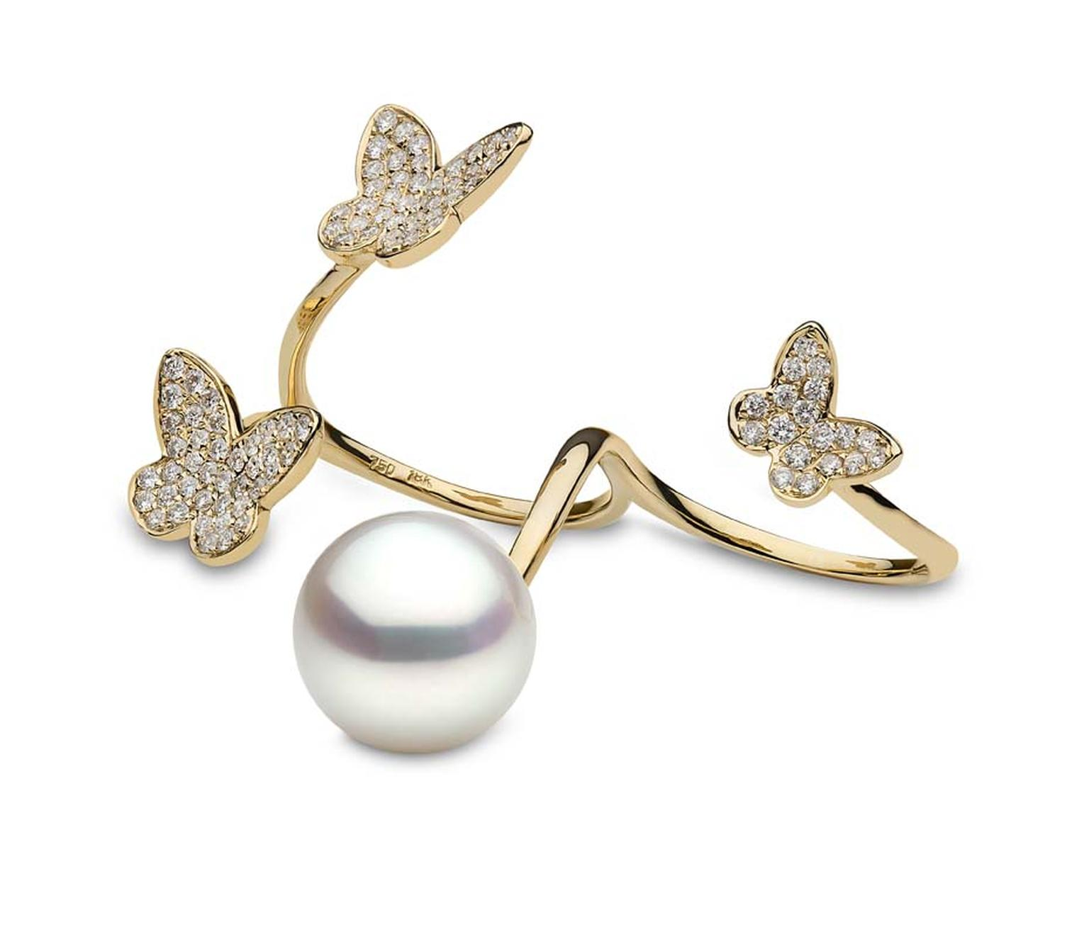 YOKO London Australian South Sea pearl double finger ring, as worn by actress Kara Tointon at this year's BAFTA ceremony.