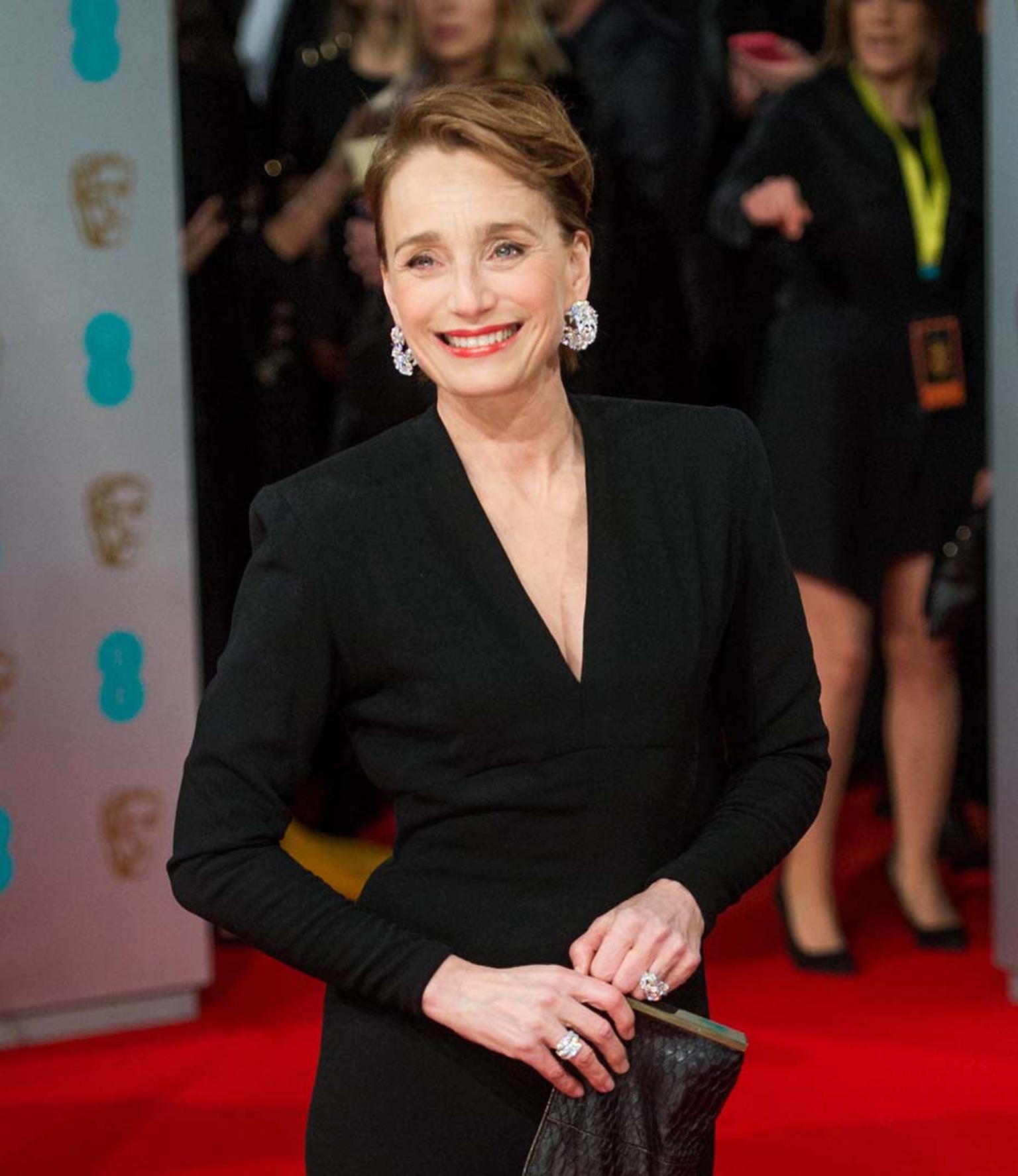Dame Kristin Scott Thomas attended this year's BAFTA awards ceremony wearing a trio of pieces from Adler, including diamond earrings and an impressive Chameleon diamond ring.