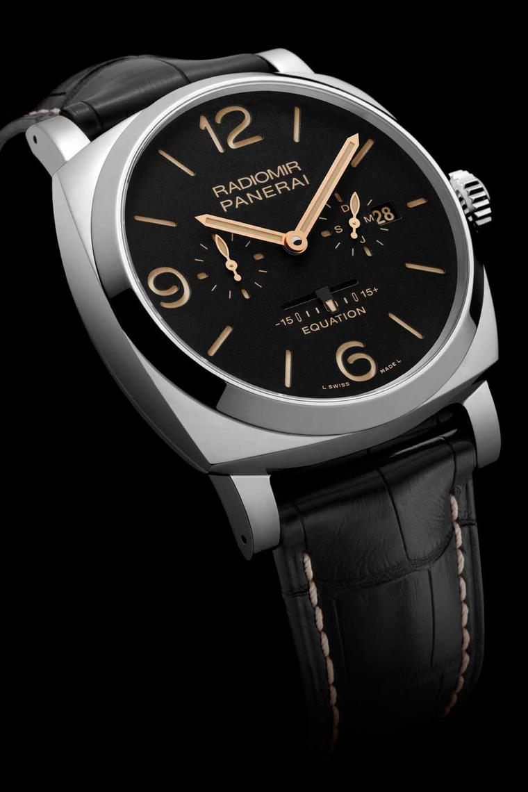 At the SIHH watch salon this year, Panerai watches unveiled a new astronomical complication - an equation of time - for its two main watch collections: the Radiomir (pictured here) and the Luminor.