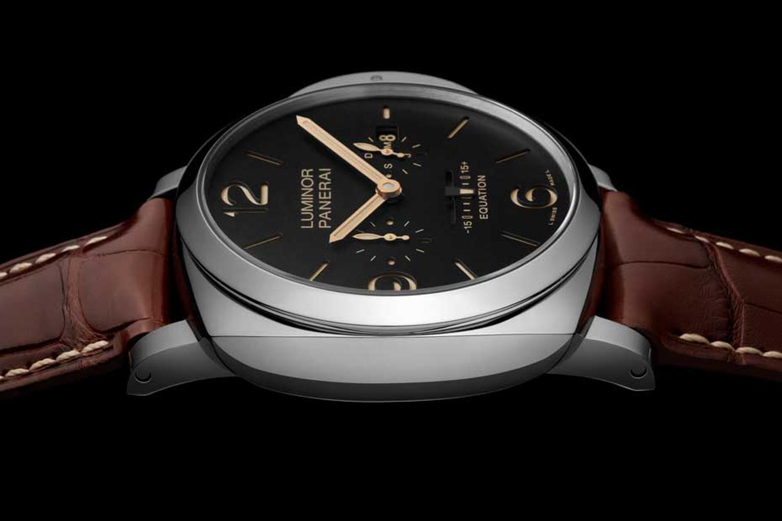Panerai Luminor 1950 watch. To indicate the equation of time, Panerai has opted for a linear indicator on the matte black dial with a small pointer moving either towards the plus or negative 15-minute marker.