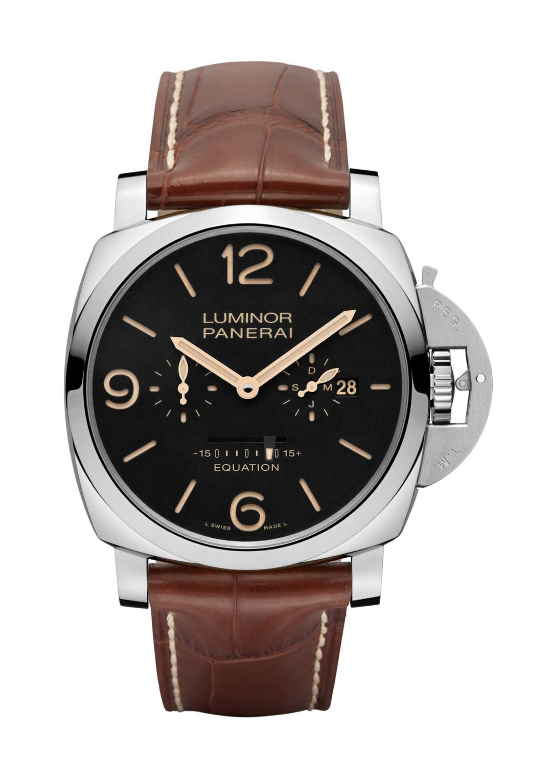 The Luminor, with its distinctive bridge device to lock the crown, is slightly smaller at 47mm and houses exactly the same calibre as its older brother. Presented on a brown alligator strap, the Panerai Luminor 1950 is a limited edition of just 100 watche
