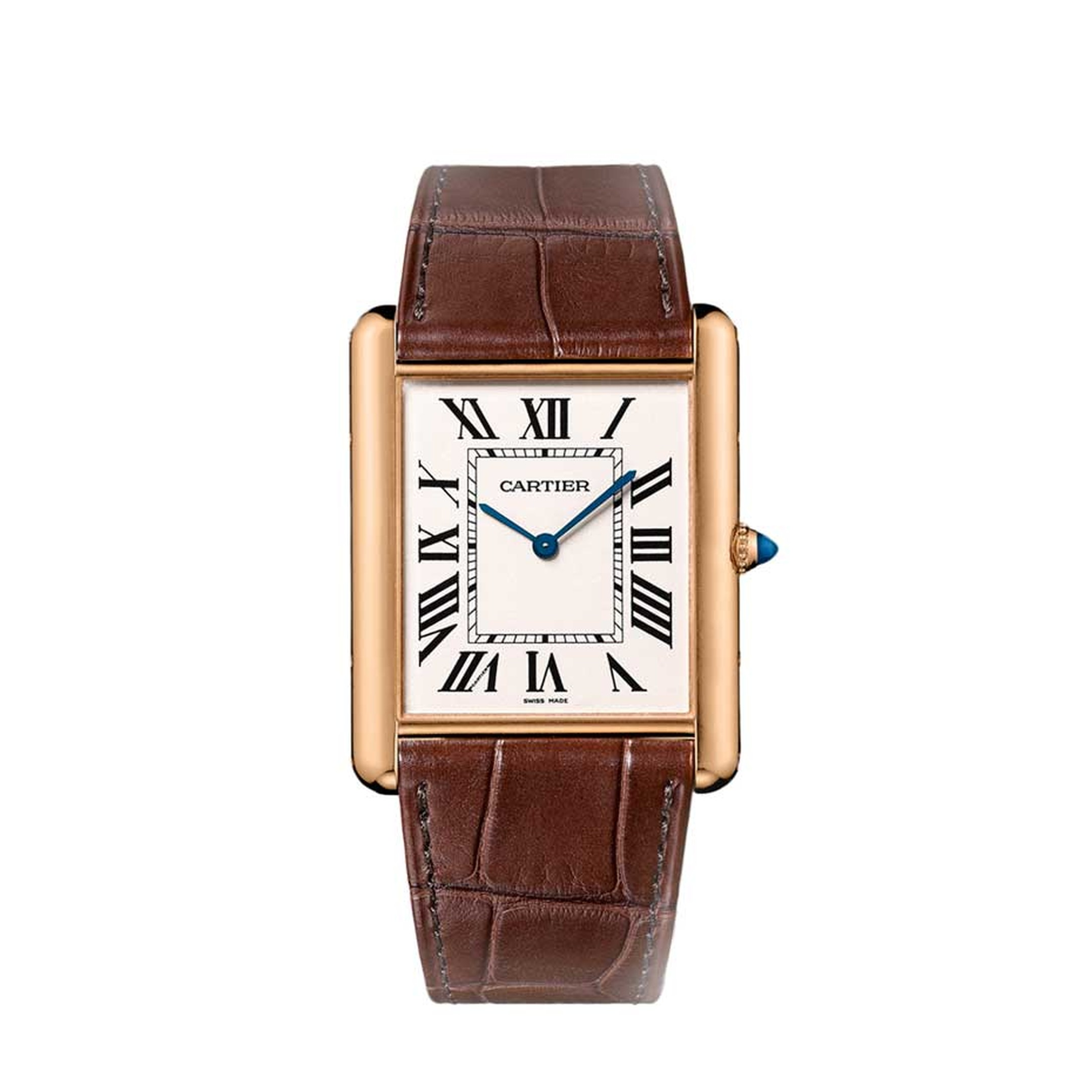 The iconic Cartier Tank watch. Towards the end of World War I, Louis Cartier became fascinated by the boxy profile of the Renault armoured battle tank and decided to model a watch on its clean, rectilinear design, giving birth to the Cartier Tank watch in