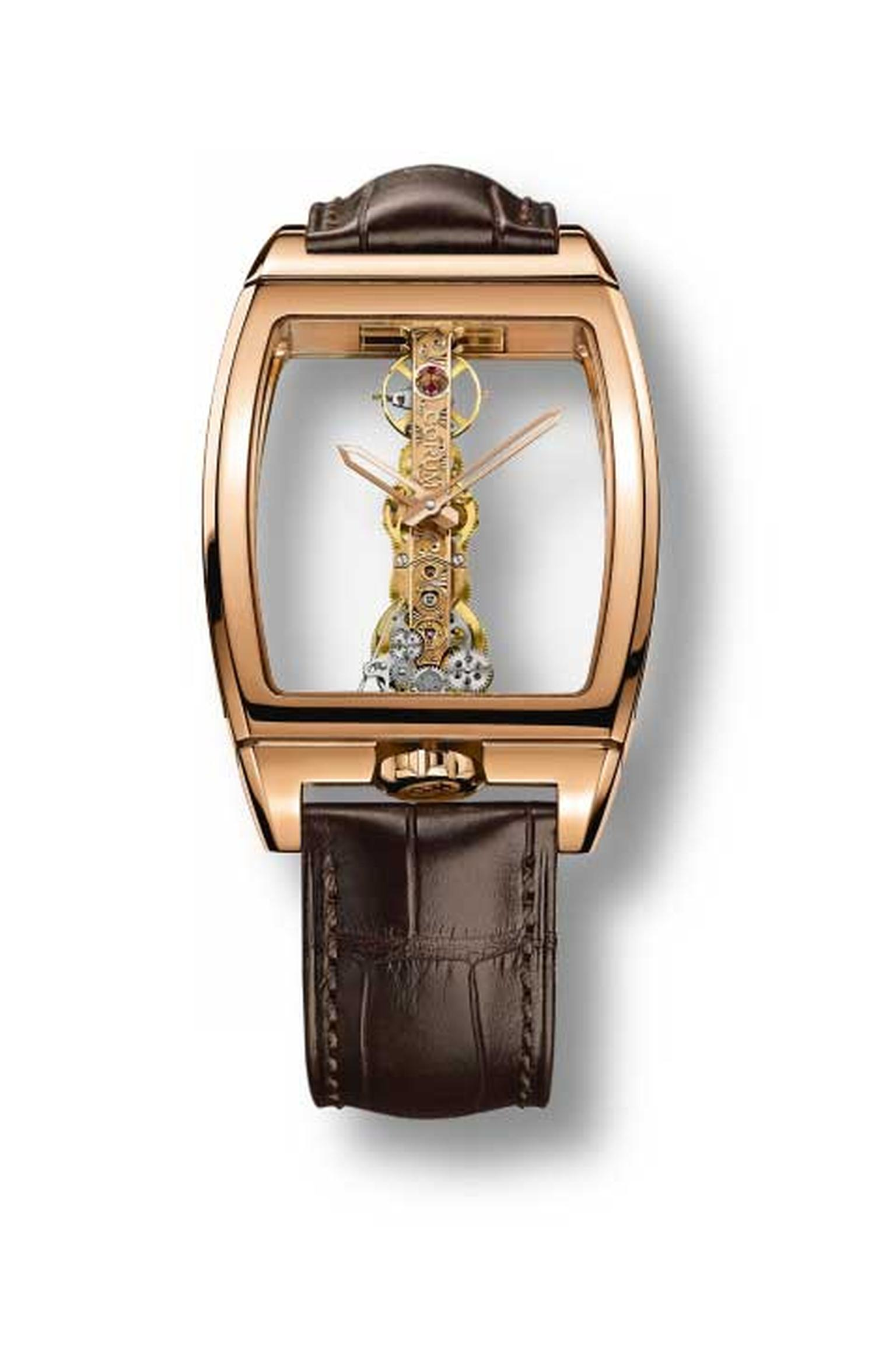 The Corum Golden Bridge watch was the world's first baguette movement with linear gear trains mounted in a totally transparent case. Instead of having a round-shaped movement tucked neatly into a round case, the Golden Bridge had its movement mounted on a