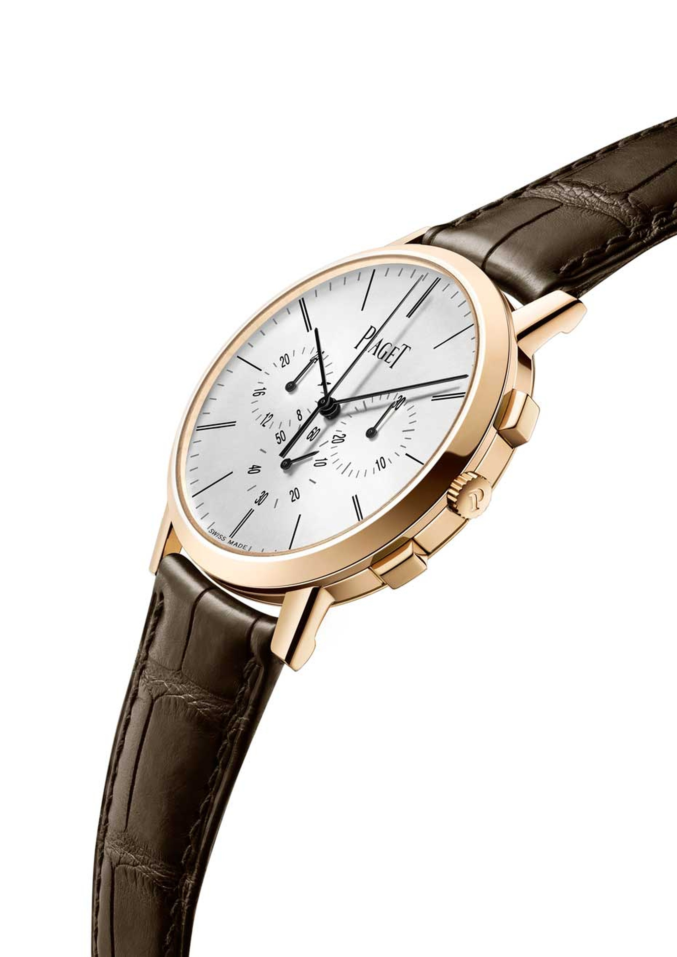Piaget has gained a reputation for its record-breaking, ultra-thin movements and elegant watches since 1956. This year the Piaget Altiplano Chronograph has just smashed two new records as the world's thinnest hand-wound flyback chronograph movement - at j