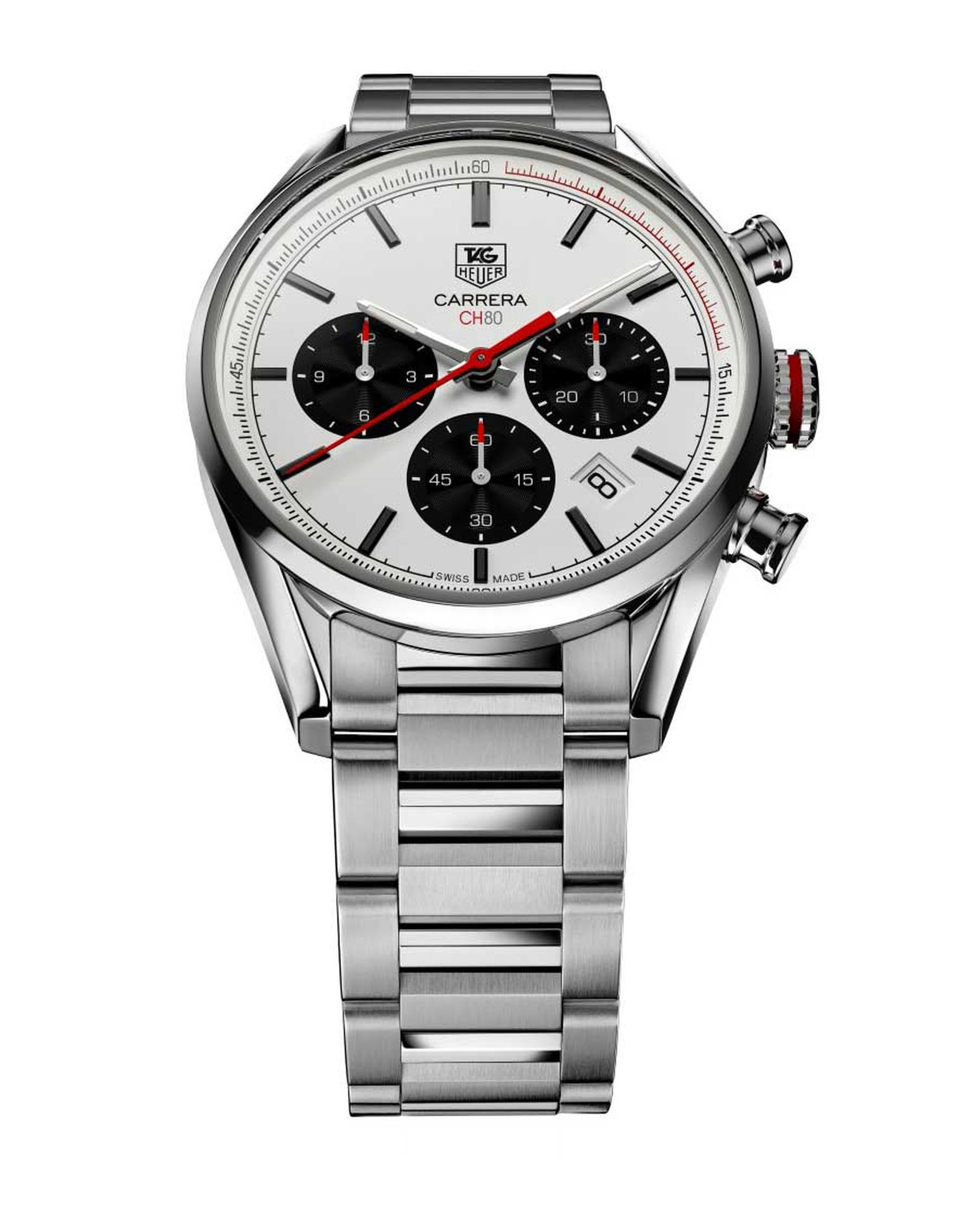 The TAG Heuer Carrera chronograph watch, conceived by Jack Heuer in 1963, was named after the Carrera Panamericana race and is the very essence of a sports watch, with large chronograph pushers, a legible dial, and a shock and water-resistant case to ride