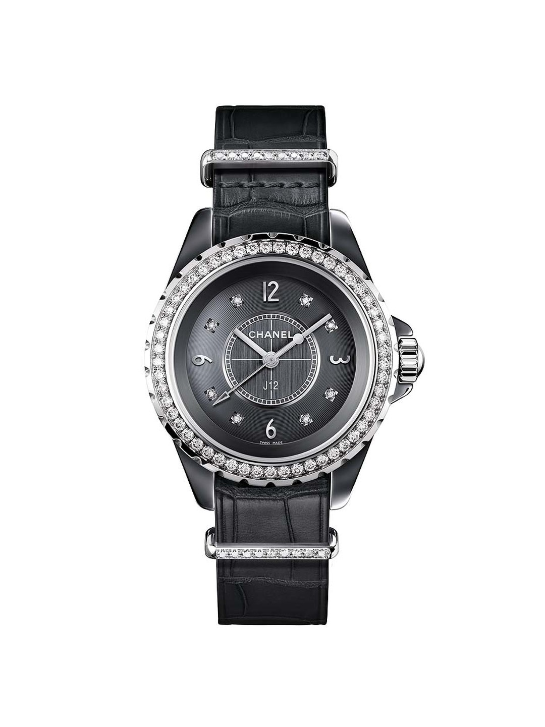Chanel J12-G10 ladies' watch in a 33mm titanium ceramic and steel case with 8 brilliant-cut diamonds as indices. The bezel, strap keepers and pin buckle are also set with brilliant-cut diamonds providing a sharp contrast to the grey dial.