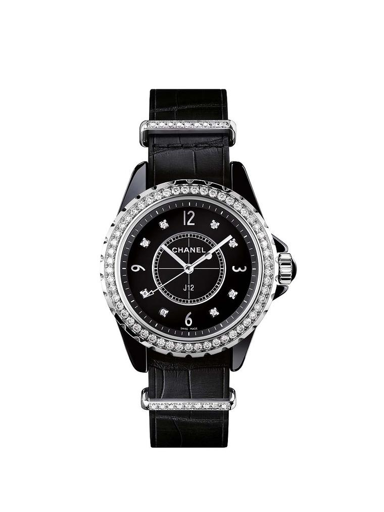 Chanel J12-G10 watch in 33mm black ceramic. The original J12 watch was conceived by Chanel's famous artistic director as a watch for men. Jacques Helleu wanted to recreate the inky black colour of Coco Chanel's lacquered tables and found a solution in bla