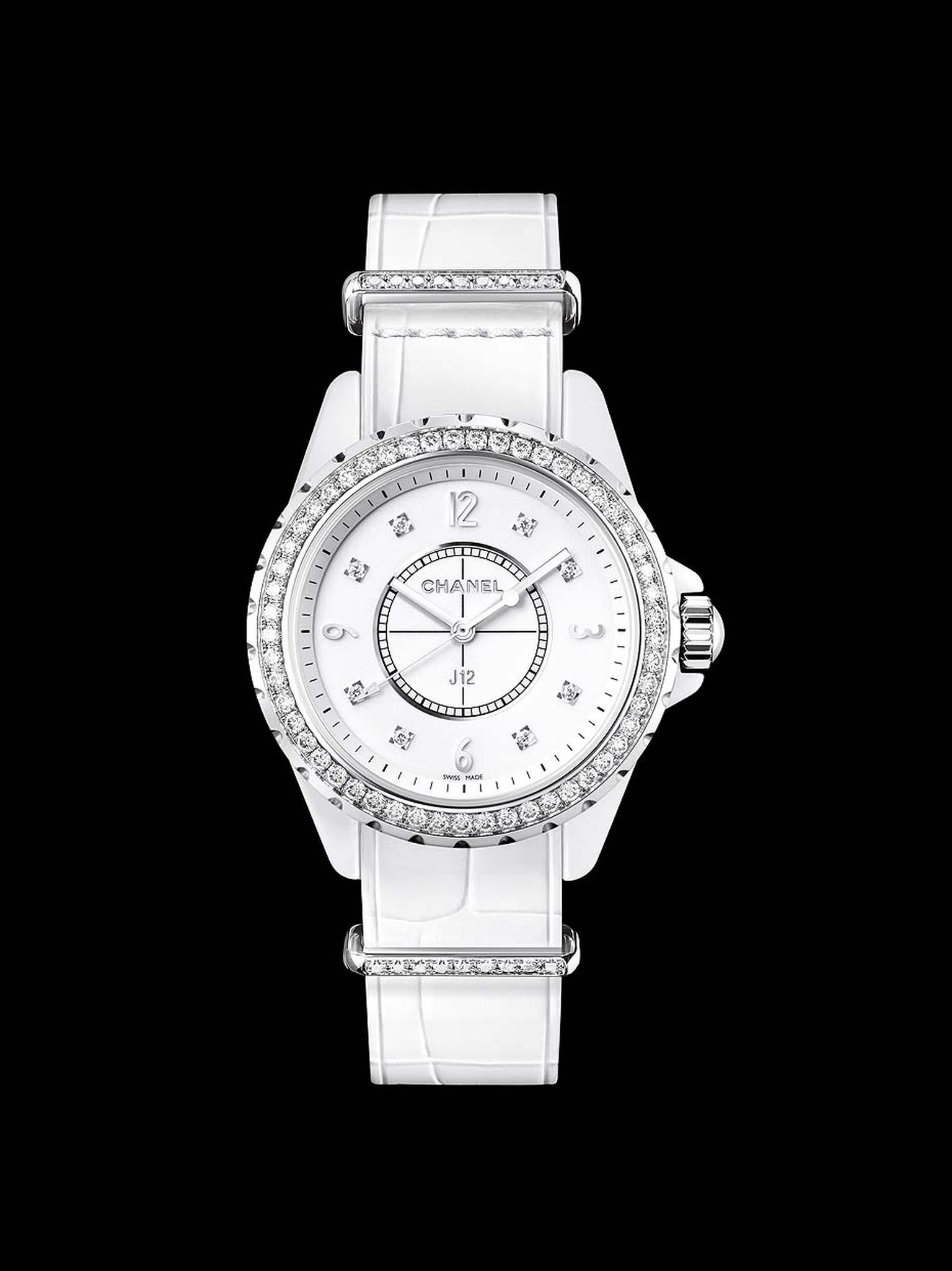 Chanel J12-G10 ladies' watch in a 33mm white high-tech ceramic and steel case set with 8 brilliant-cut diamonds as indices. The bezel is set with 53 brilliant-cut diamonds, the strap keepers are set with 9 brilliant-cut diamonds, and the buckle is set wit