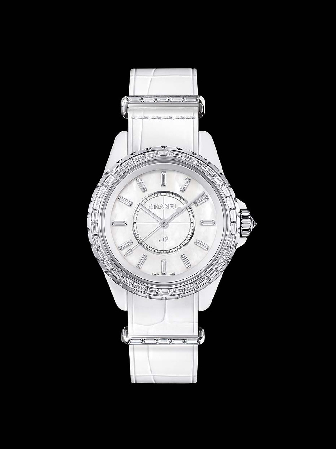 Chanel J12-G10 33mm watch in white high-tech ceramic and white gold case with a lovely mother-of-pearl dial and matching white alligator strap.