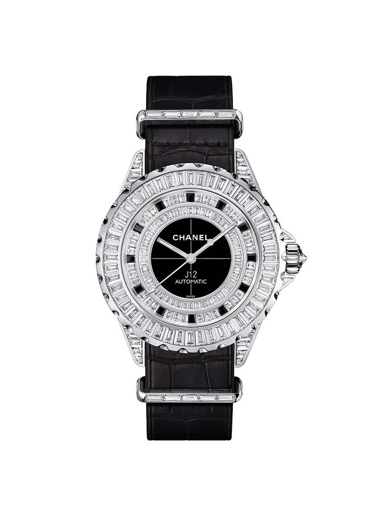 Chanel J12-G10 diamond watch is presented in a 42mm white gold case set alight with baguette-cut diamonds on every conceivable gold surface. Equipped with an automatic movement, the watch has a power reserve of 42 hours.