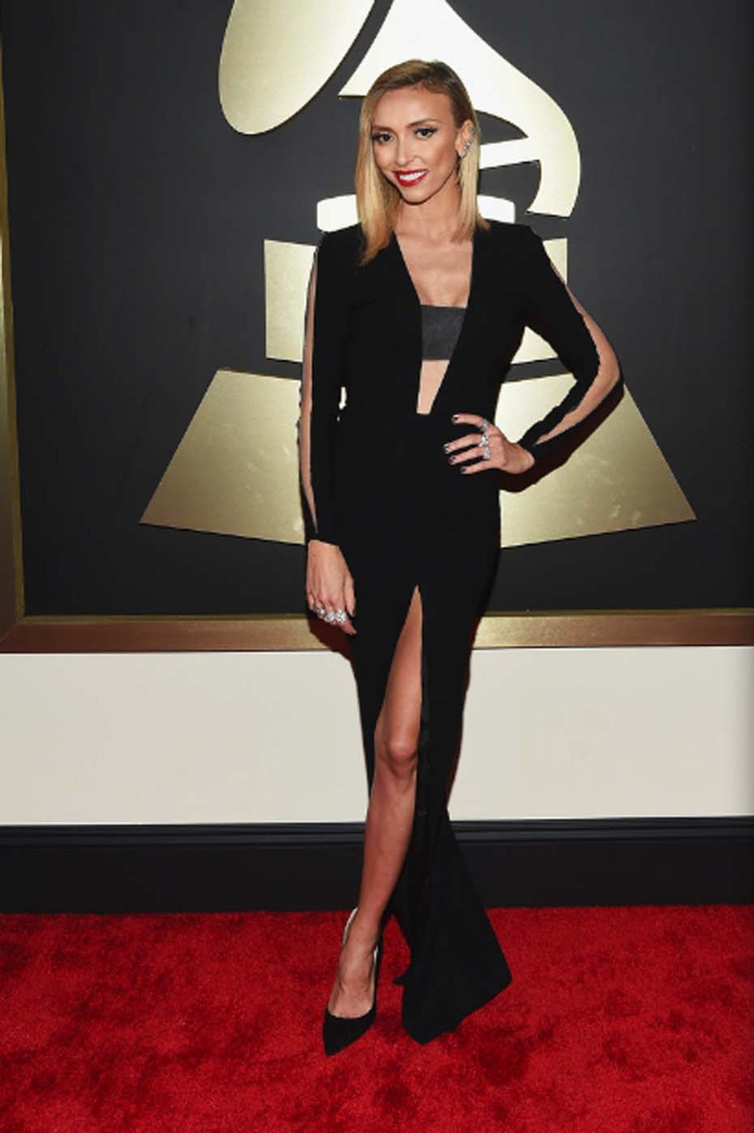 Television presenter and journalist Giuliana Rancid walked the Grammy's red carpet