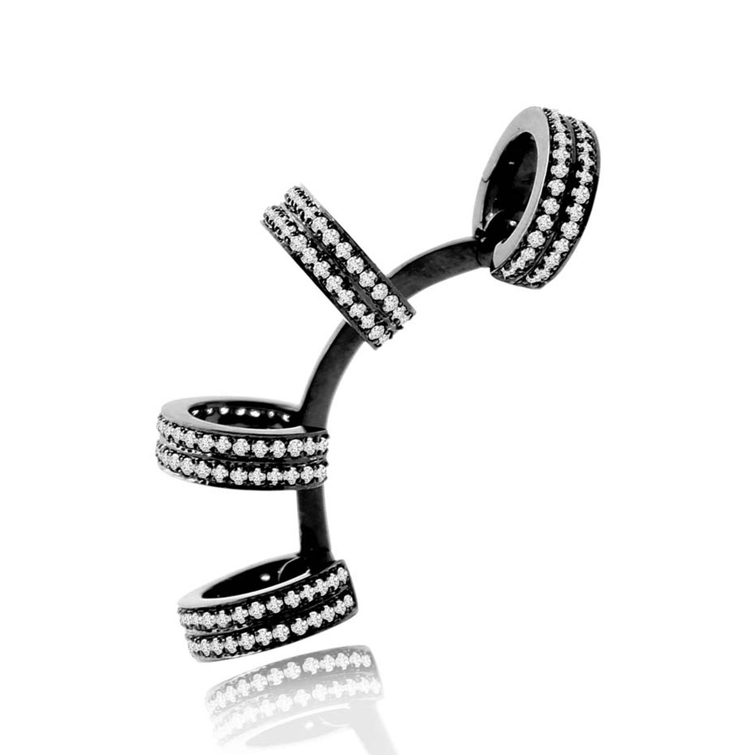 Sutra's stunning black gold and diamond ear cuff, as worn by Jessie J at this year's Grammy awards in Los Angeles.