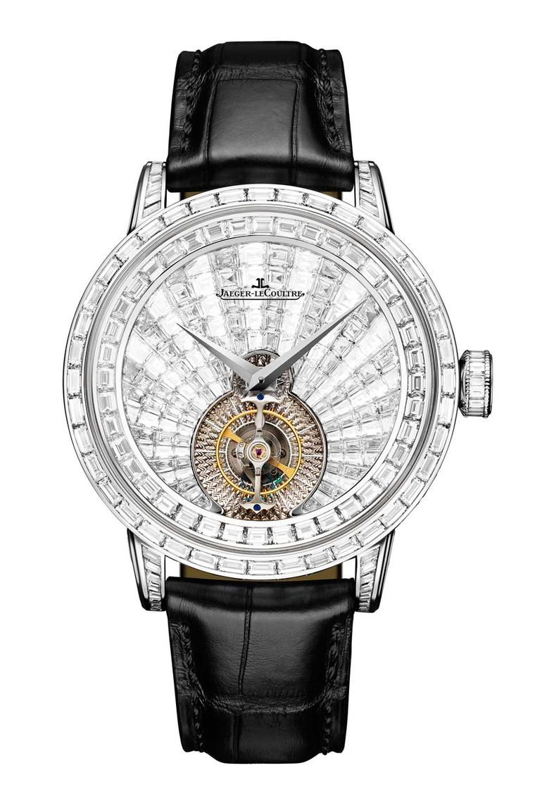 Jaeger-LeCoultre Master Grande Tradition Tourbillon Orbital diamond watch was inspired by the Sun's fiery brilliance and recreated with a profusion of baguette-cut diamonds using a new pyramid-style setting. The tourbillon reproduces a sidereal day, majes