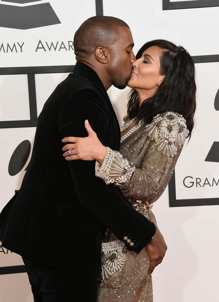 Kim Kardashian accessorised her Jean Paul Gaultier gown with stunning Lorraine Schwartz diamond studs and a statement Lorraine Schwartz ring, as she supported husband Kanye West at the 57th Grammy Awards in Los Angeles.