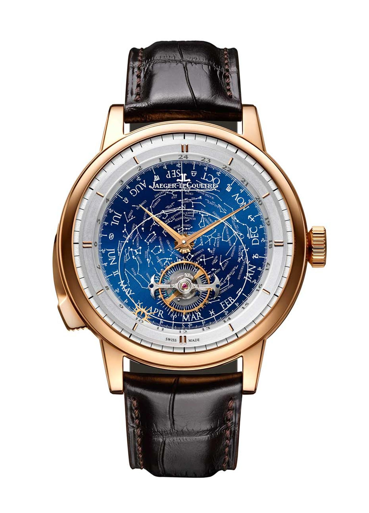 Jaeger-LeCoultre Master Grande Tradition Grande Complication watch boasts three complications: a flying tourbillon orbiting the dial in sidereal time, a calendar with day, month and Zodiac symbol, and a minute repeater to boot.