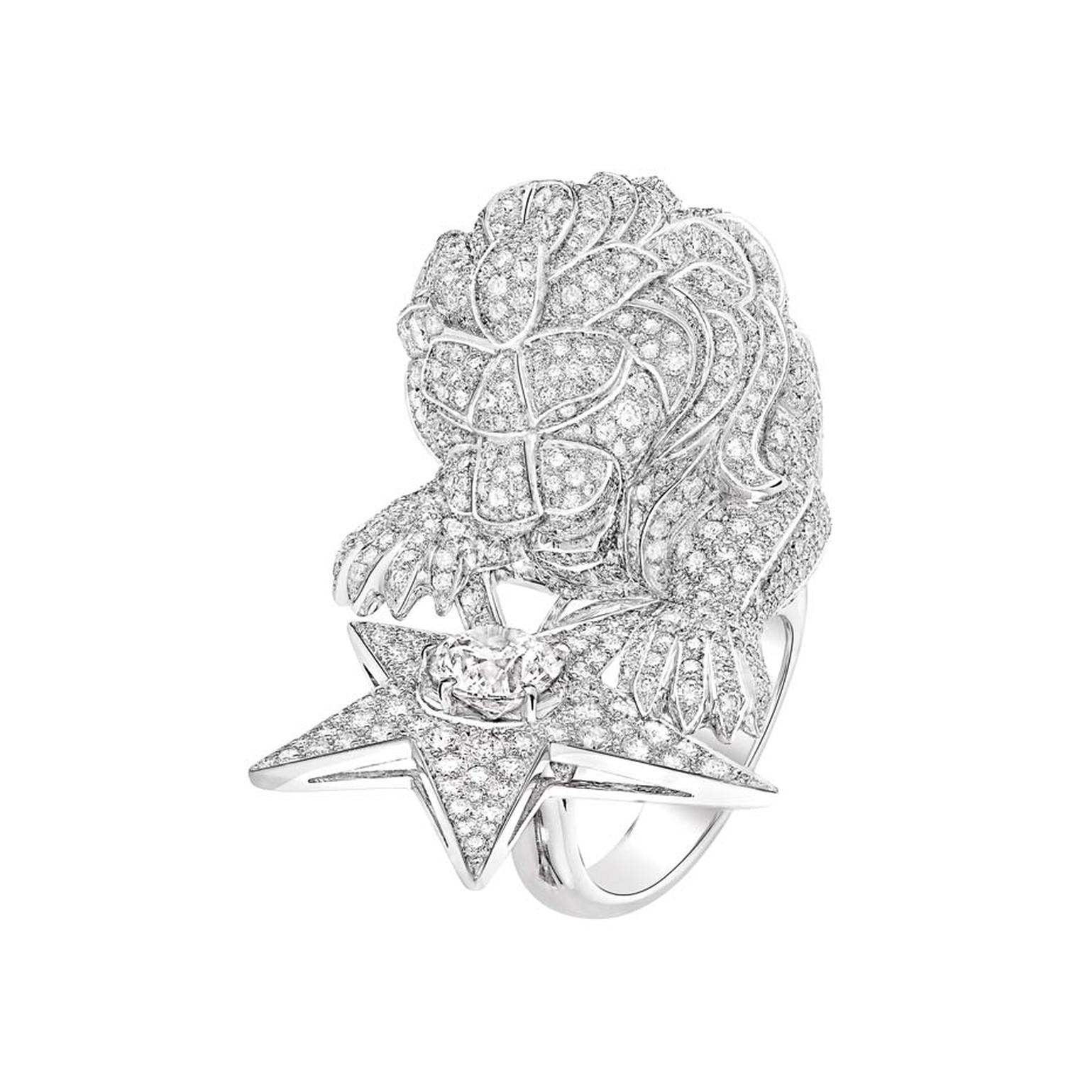 Chanel's Constellation du Lion ring from the new Les Intemporels high jewellery collection is available in two designs. This version features a regal lion covered in diamonds guarding a sparkling star.
