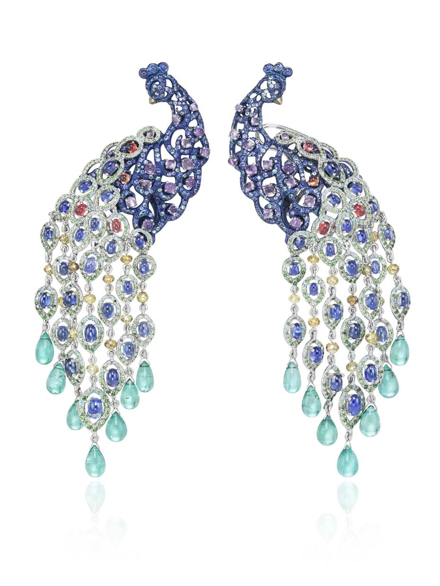 These jaw-dropping Chopard earrings from the Animal World collection, set in a colourful rhapsody of precious stones, including sapphires, tsavorites, amethysts, tourmalines and diamonds, earned their place as one of our top pieces of high jewellery launc