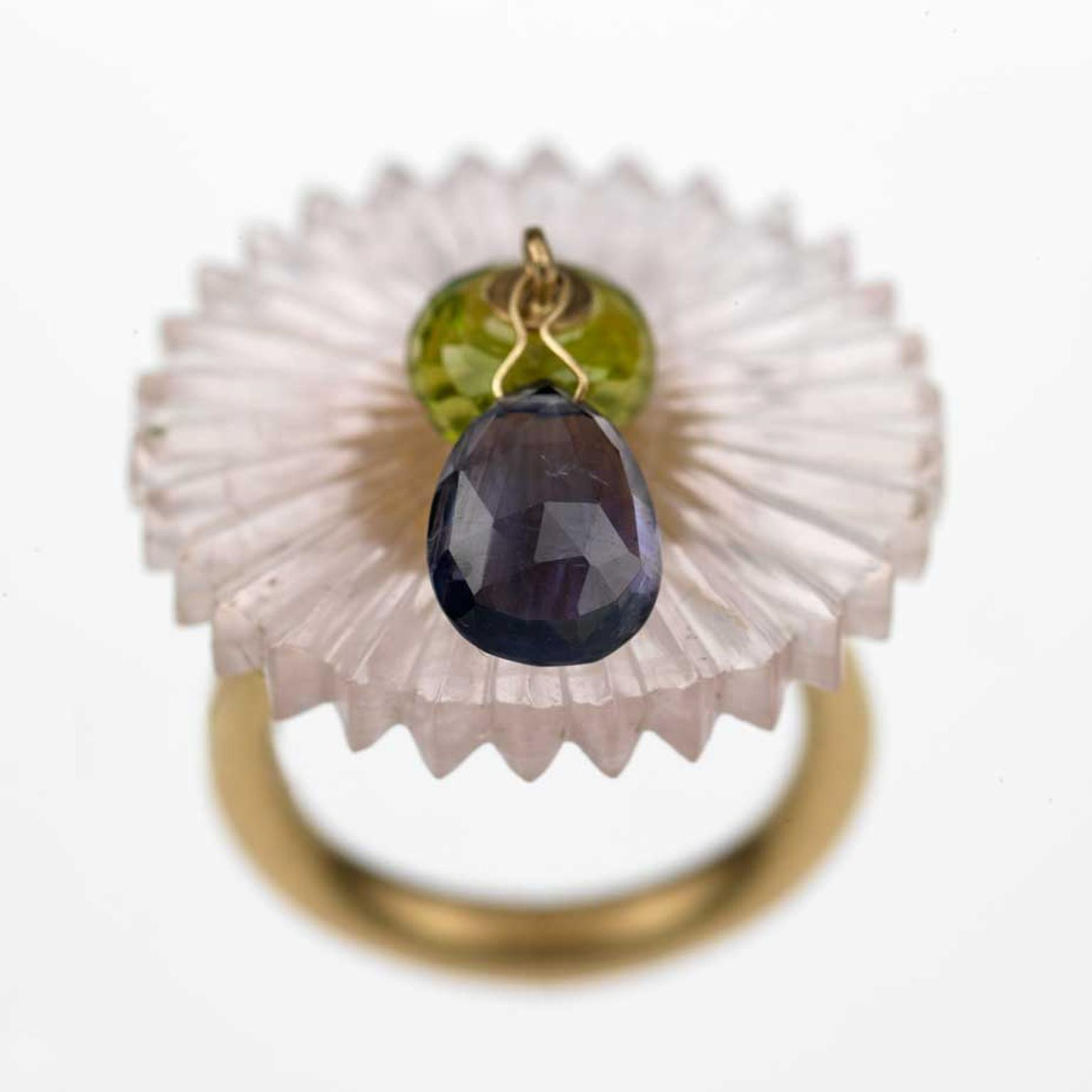 Alice Cicolini disk ring in gold with peridot bead and iolite drop from the Stone Temple series.