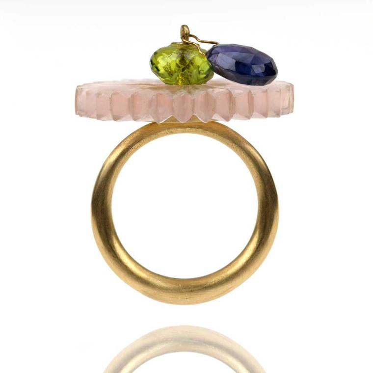 Alice Cicolini Disk Ring in gold with a peridot bead and iolite drop from the Stone Temple series.