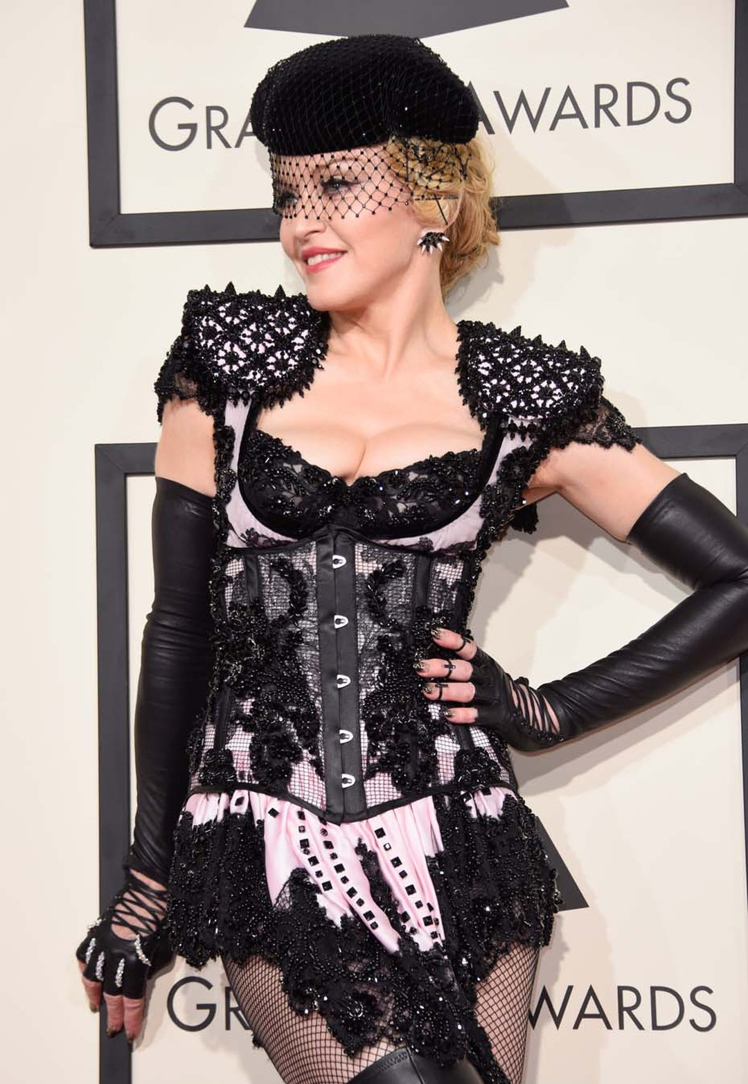 Madonna's red carpet jewelry proved the perfect accessory to her skimpy custom Givenchy Matador-inspired outfit, as she opted for a beautiful Yeprem diamond hand bracelet and multiple rings from Lynn Ban.