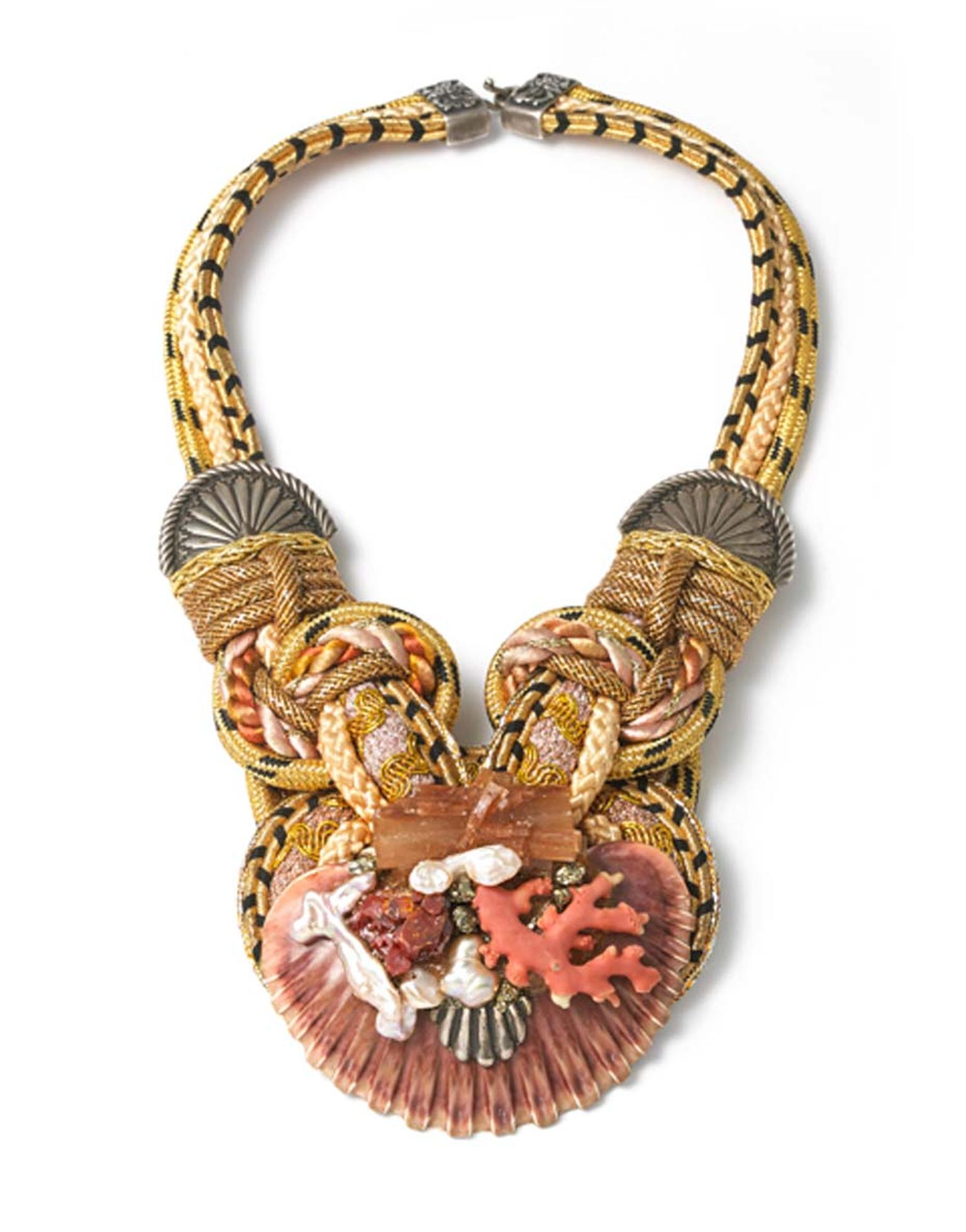 Alex & Lee use a technique called passementerie to create these whimsical mini works of art and set them into hammered copper, attaching colourful silk cording. The outcome is stunning high jewellery pieces like this one, which will form part of Alexander